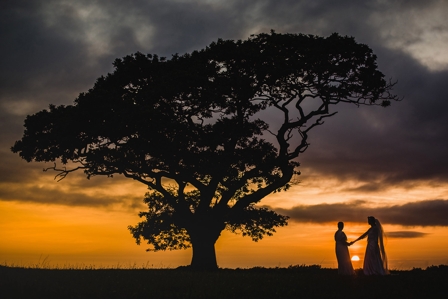 sunset wedding photograph in cornwall
