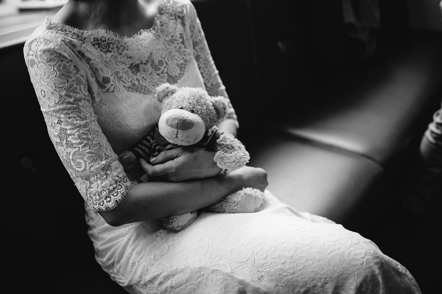 bride and her teddy bear