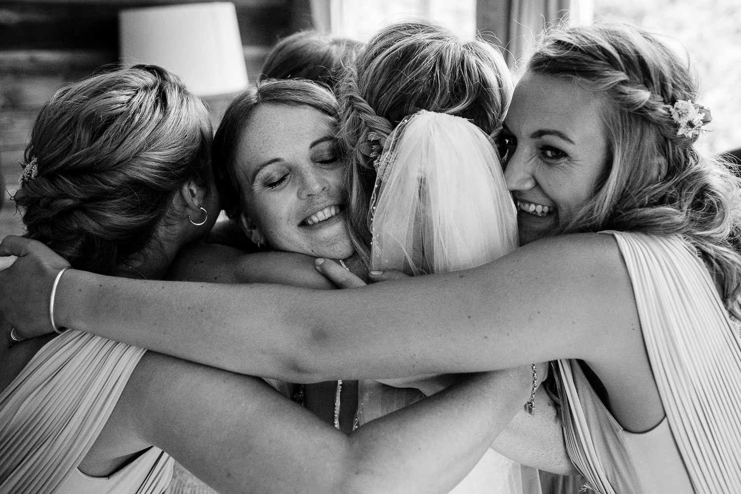 bridesmaids hug
