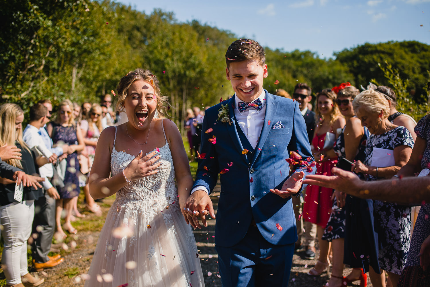 Confetti photo at Trevibban Mill wedding