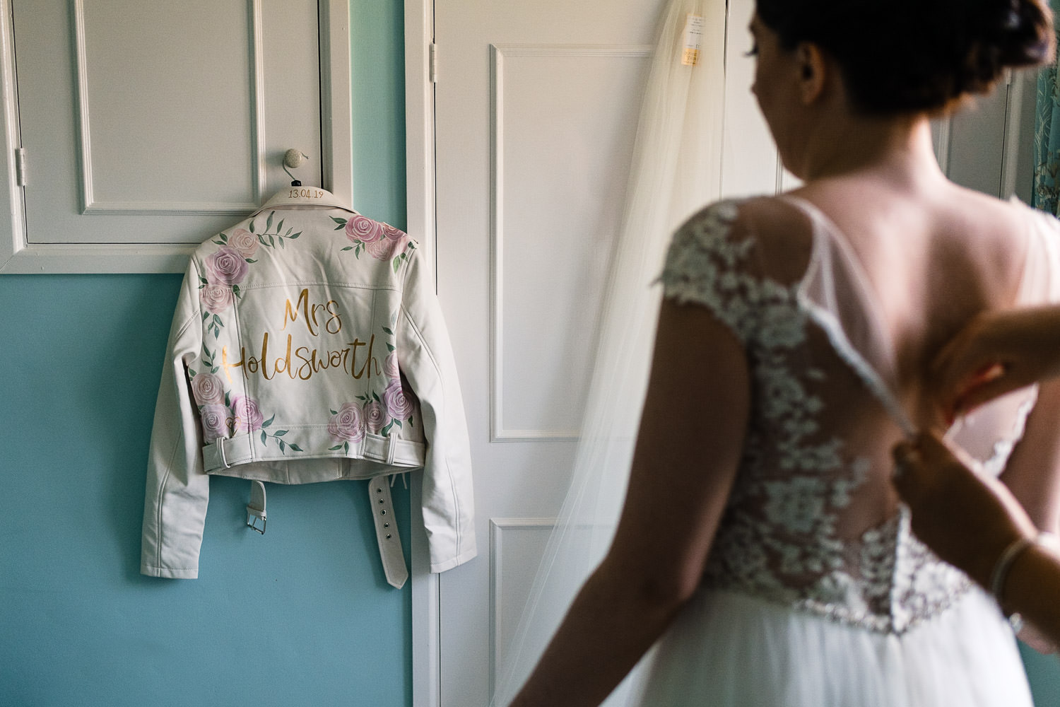 Brides bespoke white leather jacket