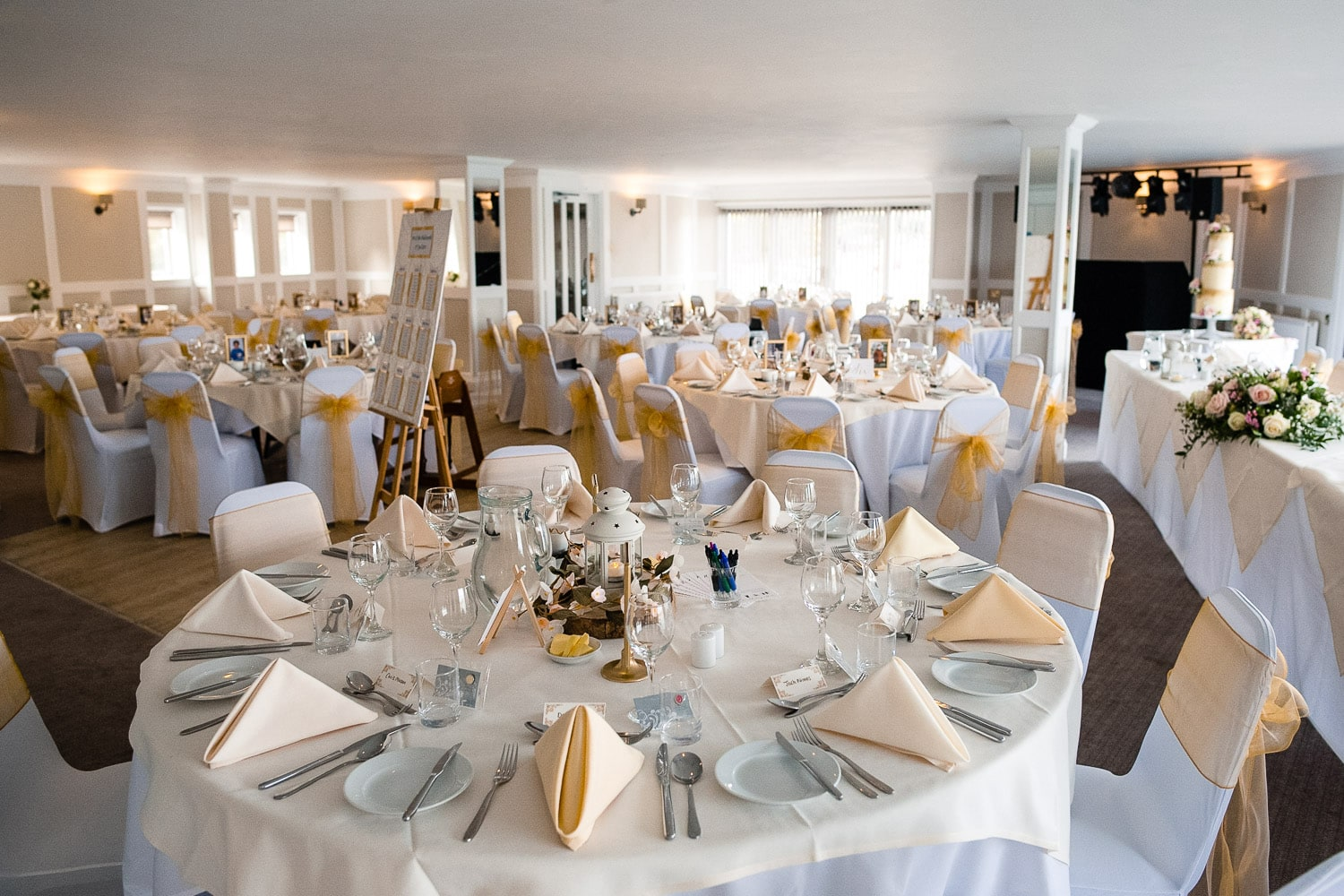 wedding reception room at The Greenbank Hotel in Falmouth