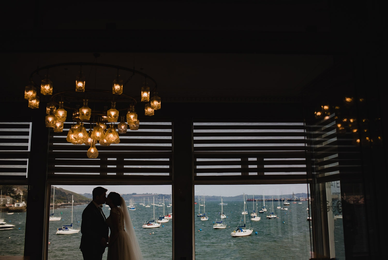 Bride and groom at the Greenbank Hotel in Falmouth