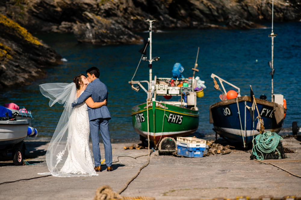 Wedding photo at Portloe Harbour
