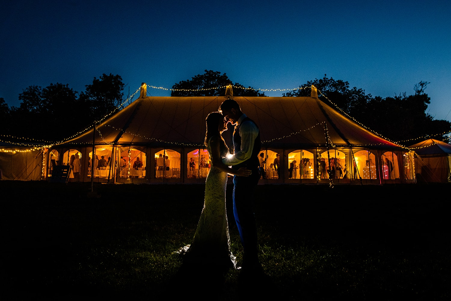 Marquee wedding reception in Cornwall
