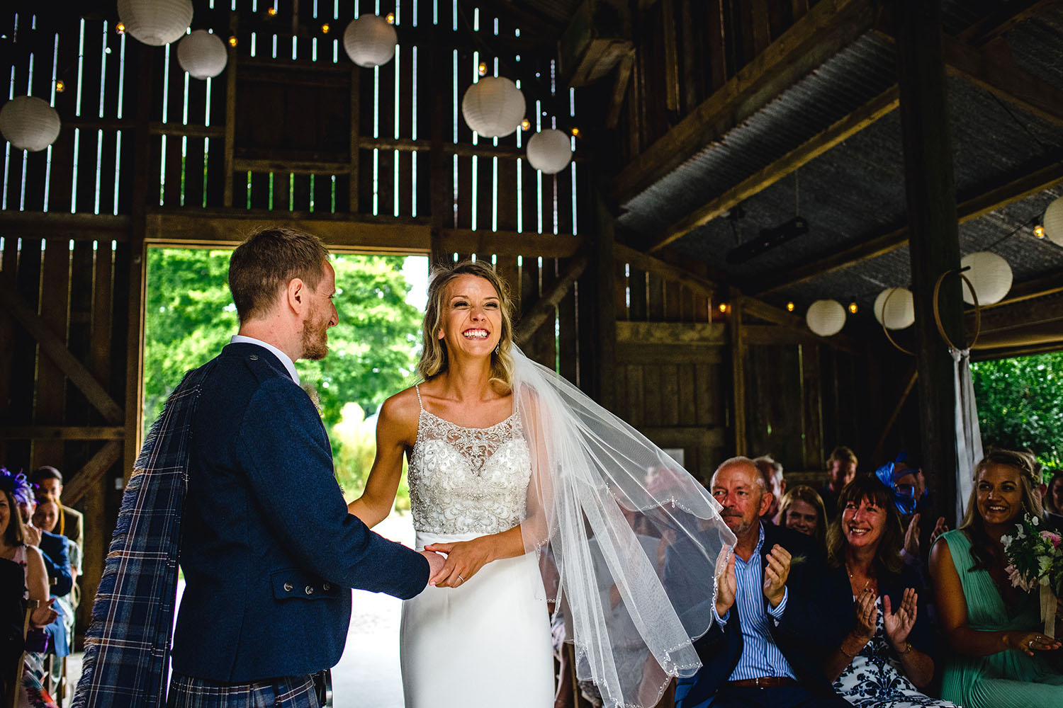 bride and groom during wedding ceremony at nancarrow farm