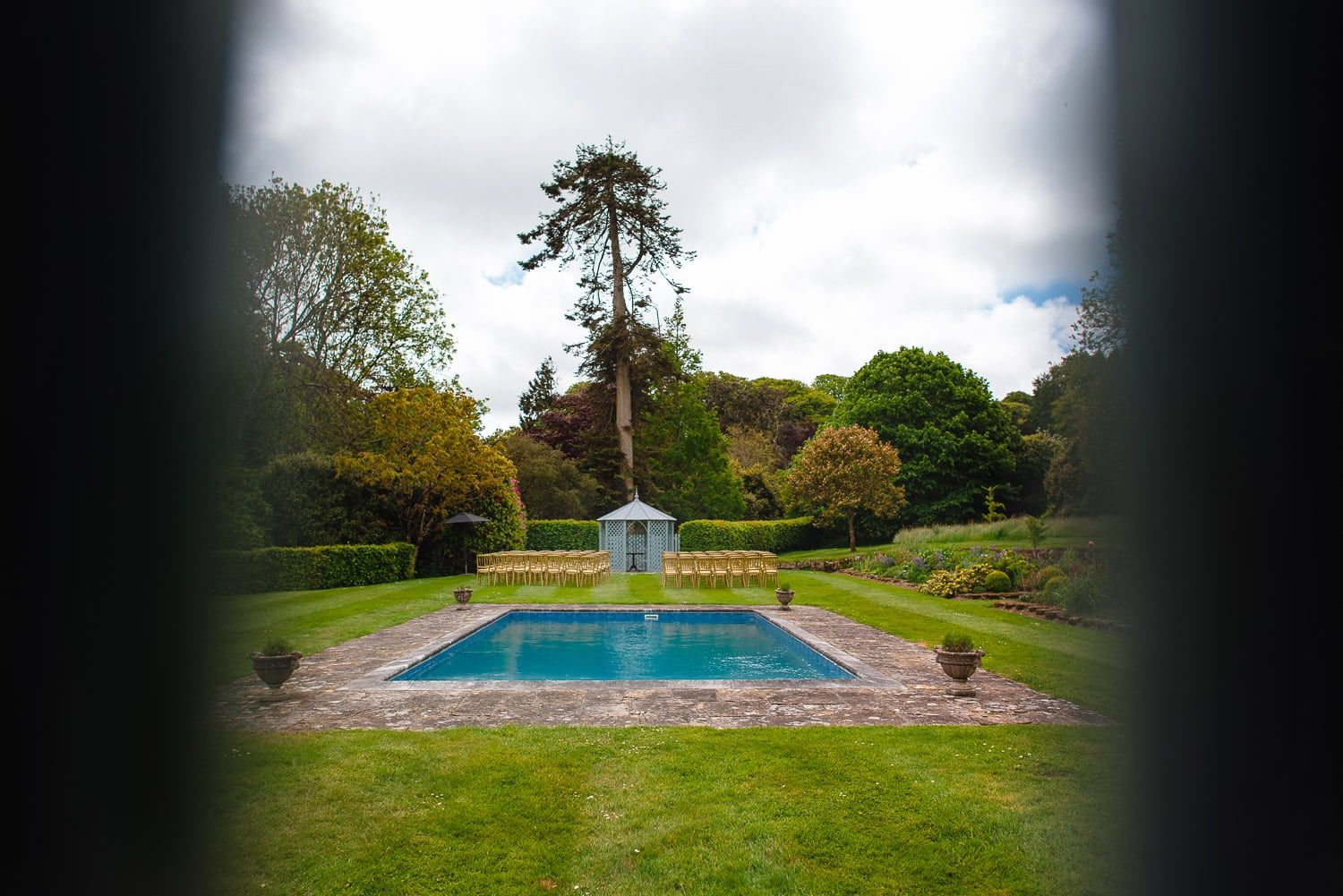 Swimming pool and garden at wedding venue