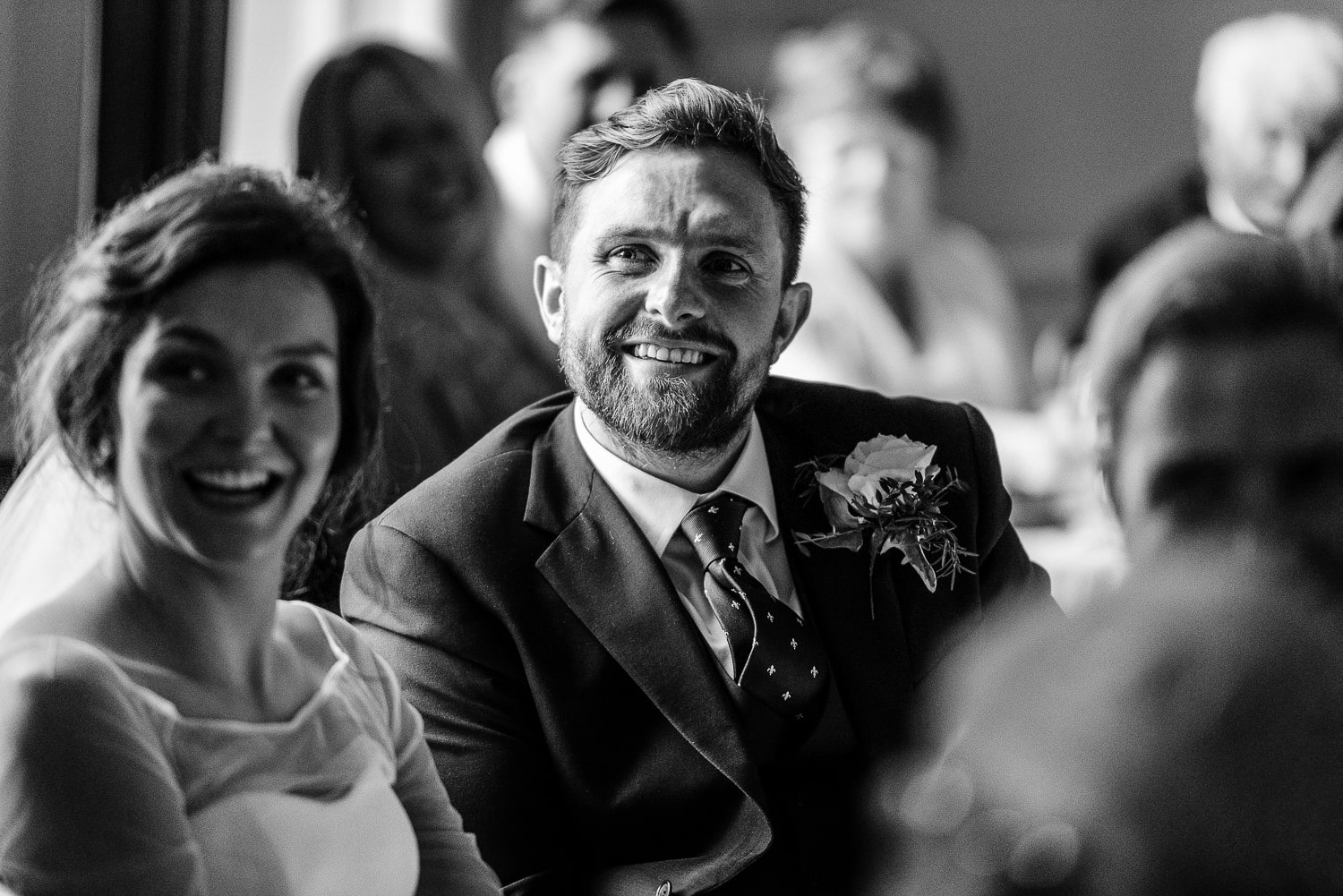 Groom reaction during speech at Cornwall wedding