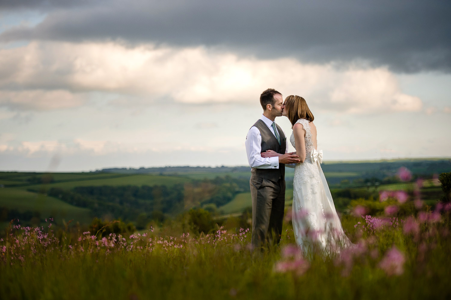 Bride and groom in countryside wedding in Cornwall