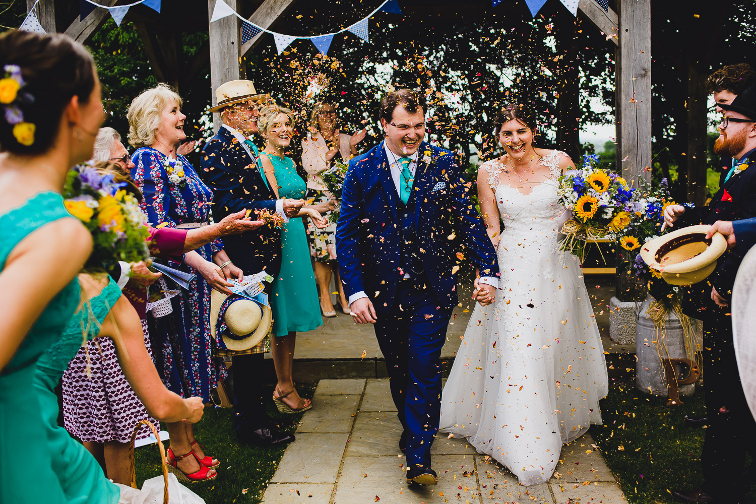 confetti at outdoor wedding in Cornwall