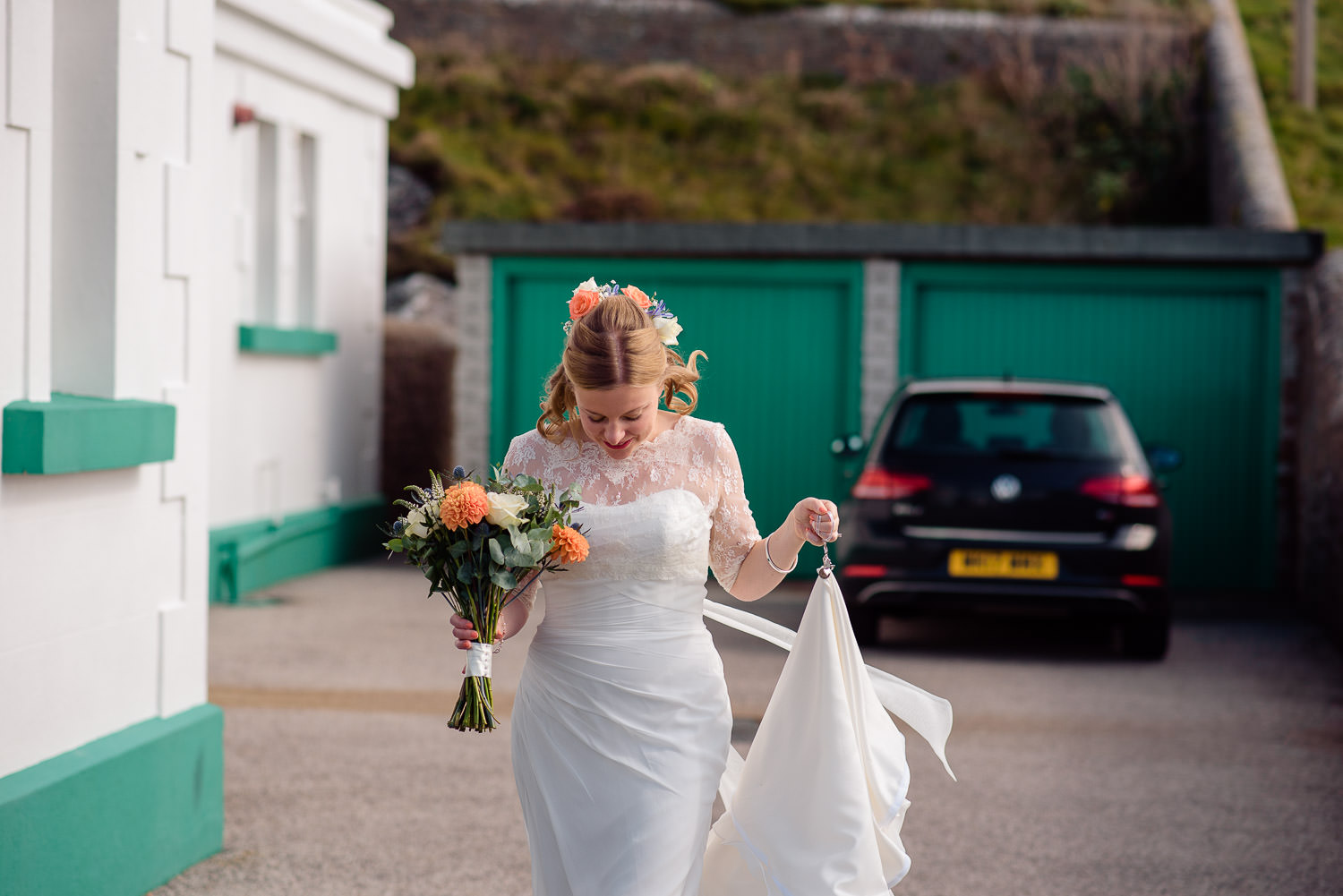 Bride walking to wedding ceremony