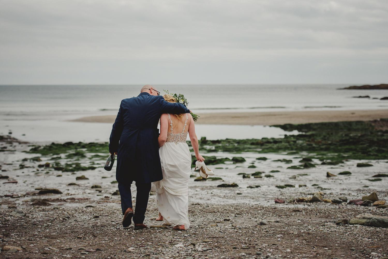 bride and groom at Talland Bay