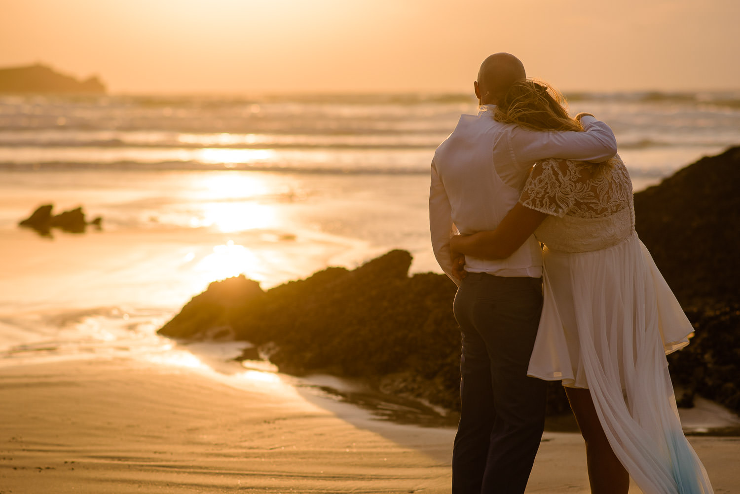 Sunset on your wedding day in Cornwall