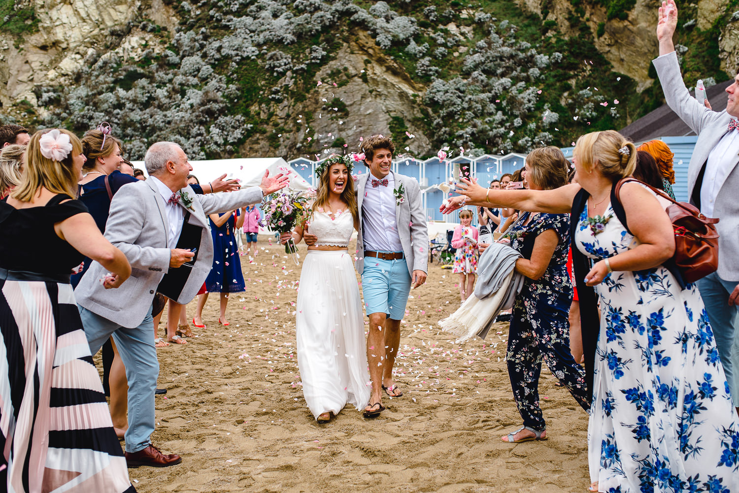 Confetti at beach wedding in Cornwall