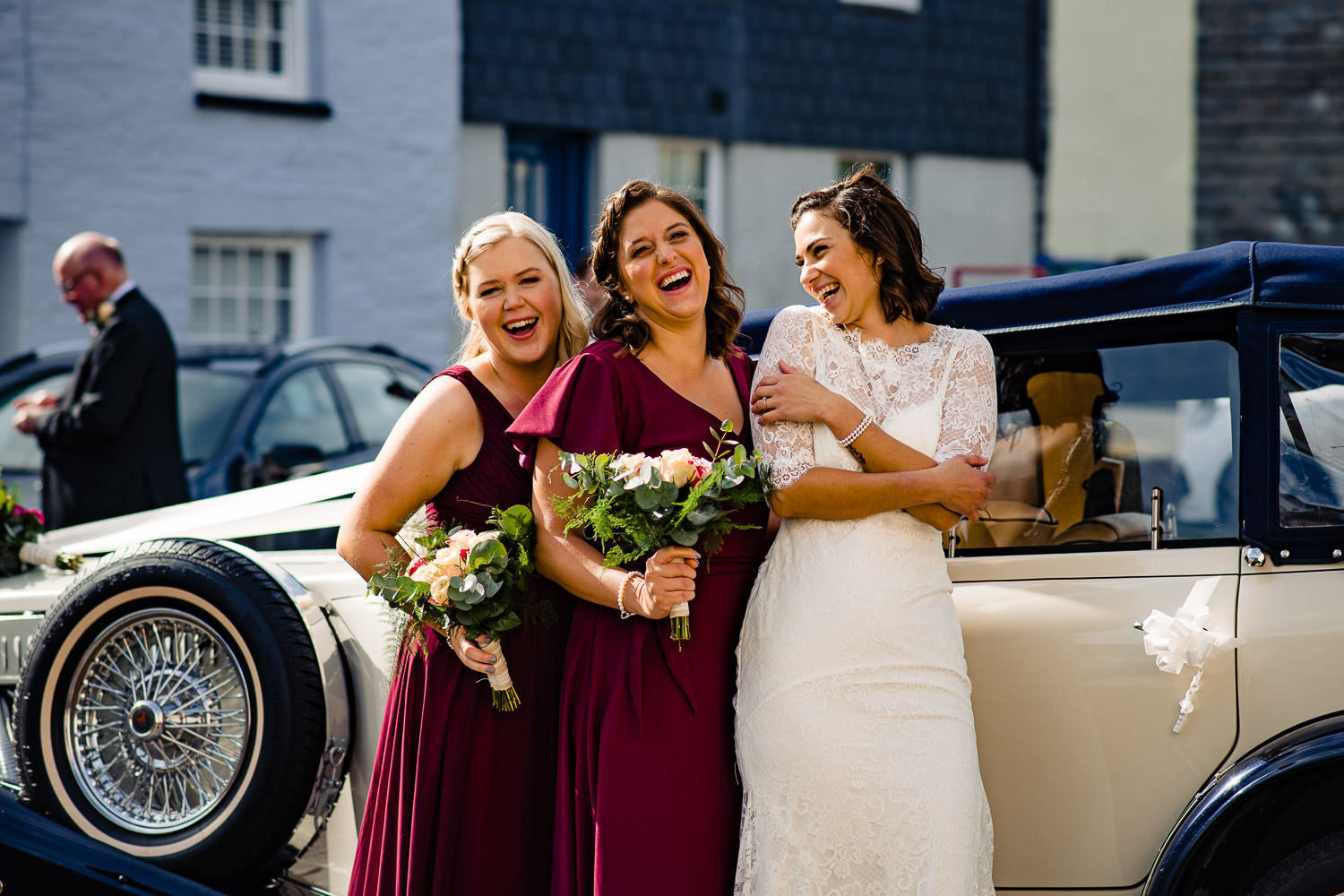 Bride and her bridesmaids in Cornwall