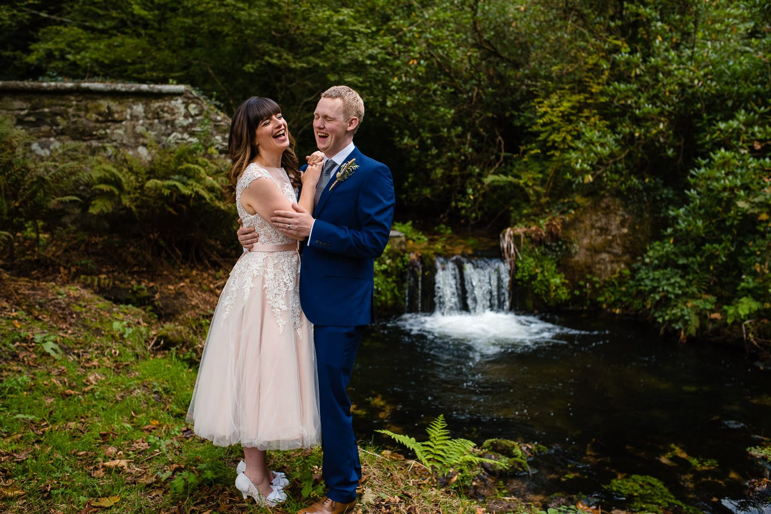 small waterfall wedding photo in cornwall