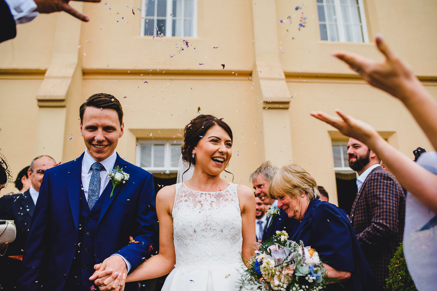 pentillie castle wedding photography - confetti