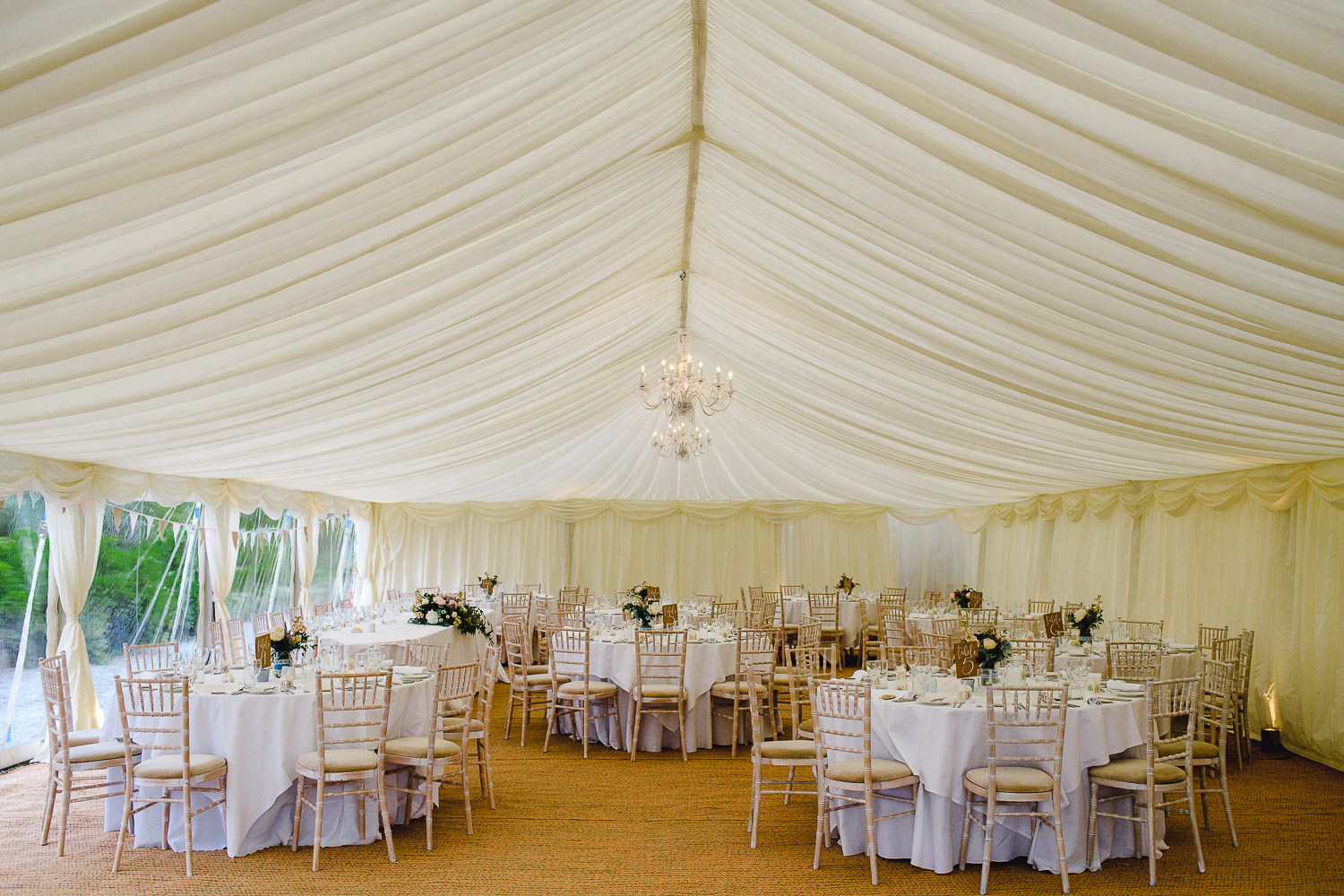 marquee at pentillie castle wedding