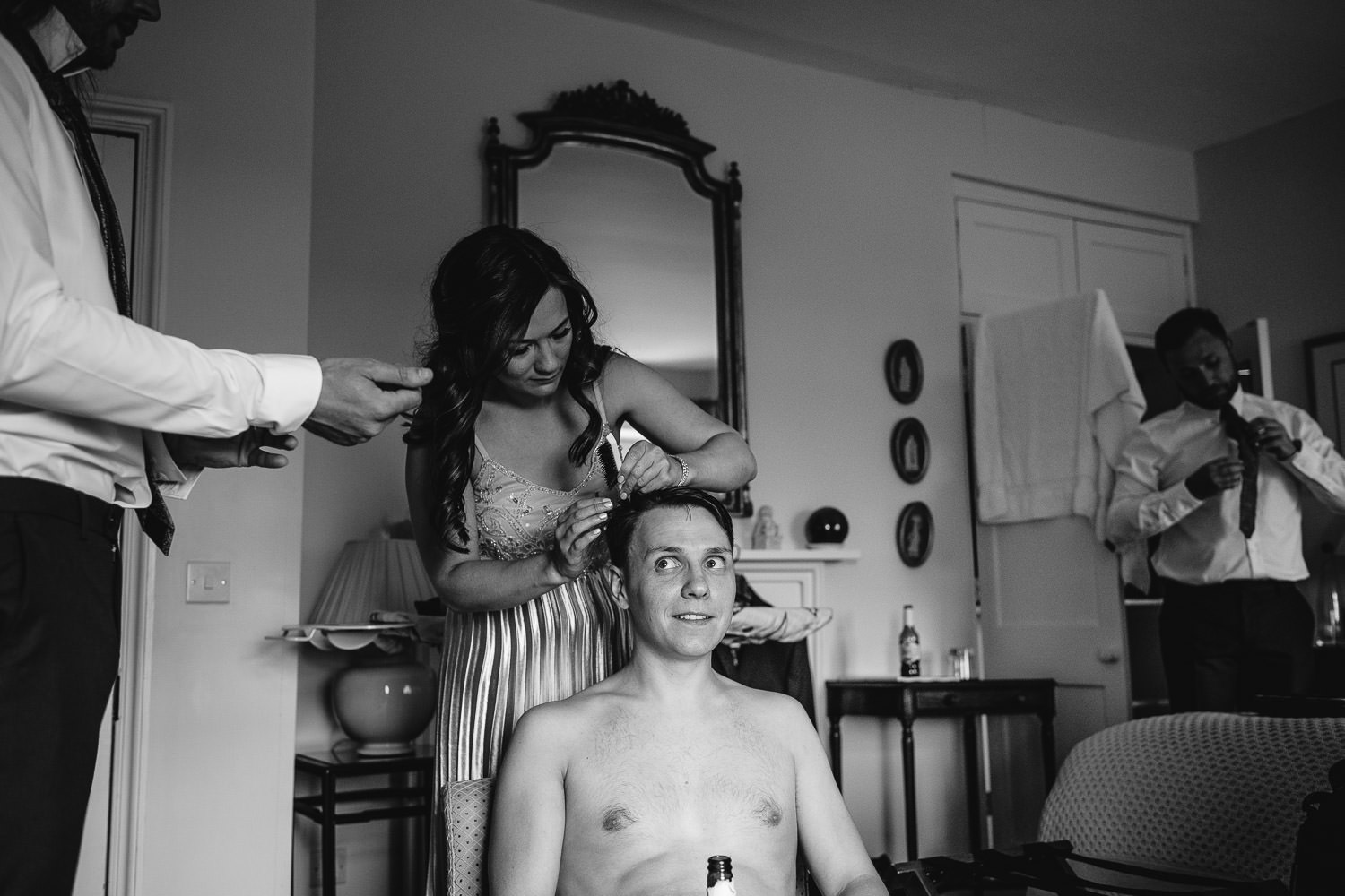 groom haircut on wedding day