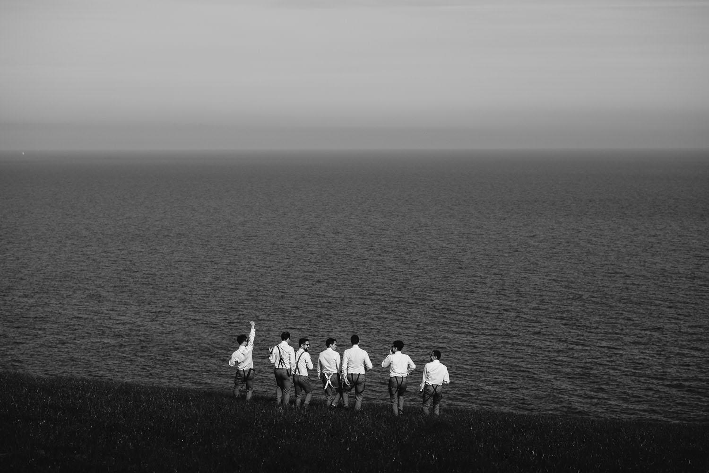 Groomsmen group photo in Cornwall