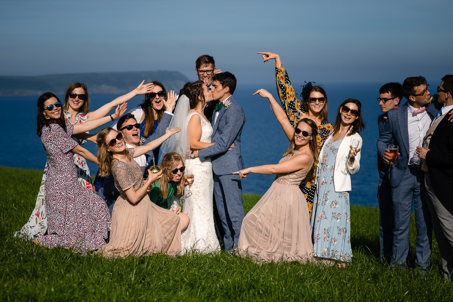 Bridal party group shot in Cornwall