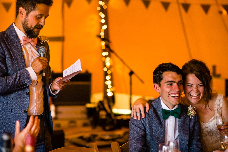 Tipi wedding reception in Cornwall