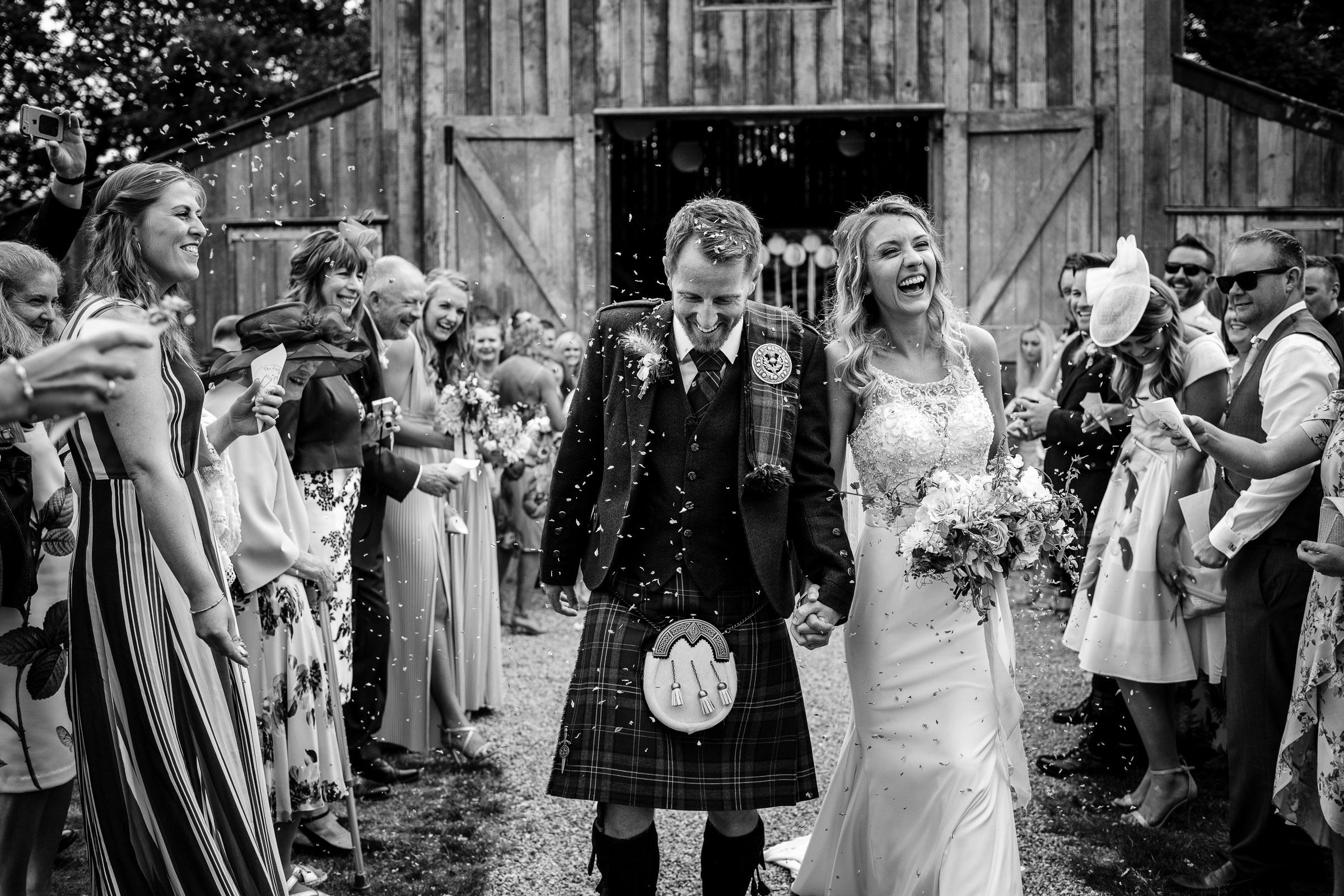 confetti at Nancarrow Farm wedding