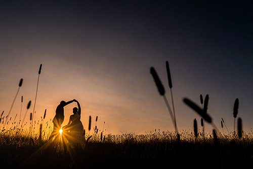 Sunset wedding photo in cornwall